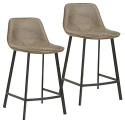 !nspire Buren Metal Black Contemporary Full Back Armless Bar Stool with Brown Faux Leather Seat - (Set of 2)
