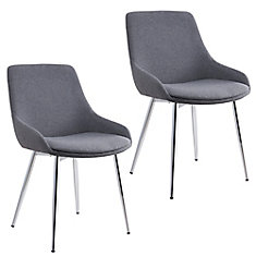 Cassidy Metal Chrome Parson Dining Chair with Grey Polyester/Polyester Blend Seat - (Set of 2)
