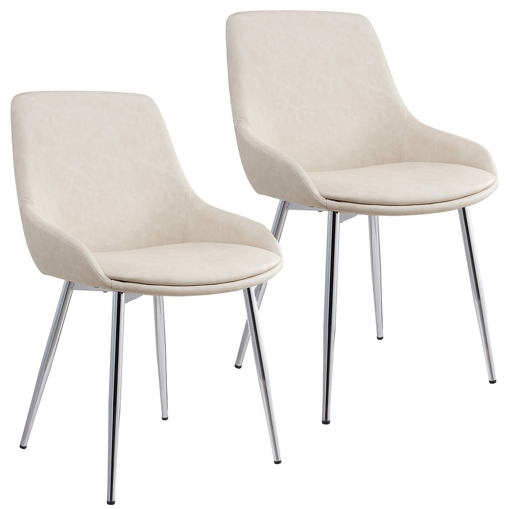 Metal Chrome Parson Dining Chair with Beige Faux Leather Seat - Set of 2