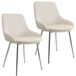 !nspire Cassidy Metal Chrome Parson Dining Chair with Beige Faux Leather Seat - (Set of 2)