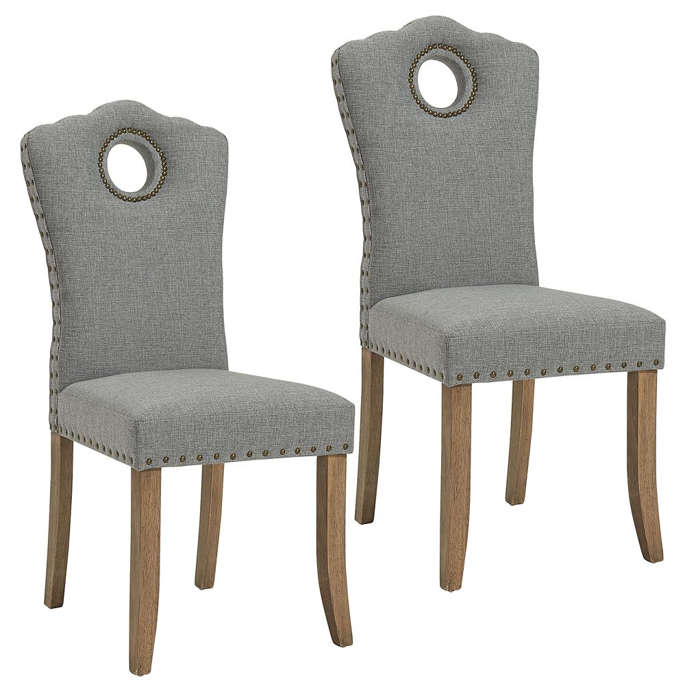!nspire Elise Solid Wood Grey Parson Armless Dining Chair with Grey Polyester Seat - Set of 2