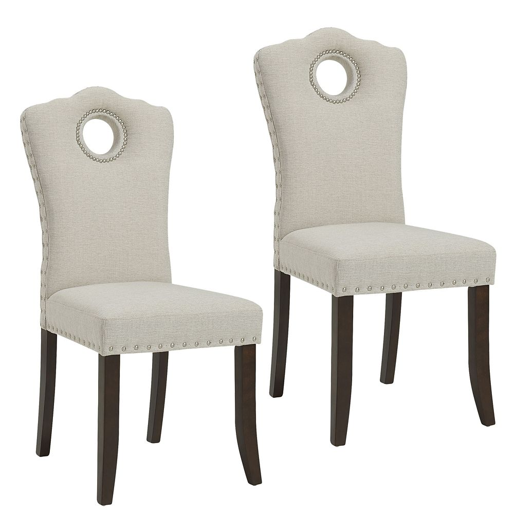 !nspire Elise Solid Wood Walnut Parson Armless Dining Chair with Beige Polyester Seat - Set of 2