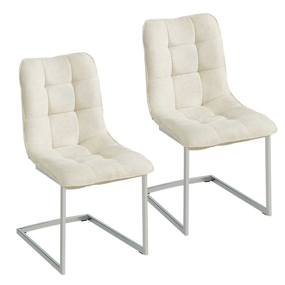 !nspire Galyn Metal Chrome Parson Armless Dining Chair with Beige Polyester/Polyester Blend Seat - Set of 2