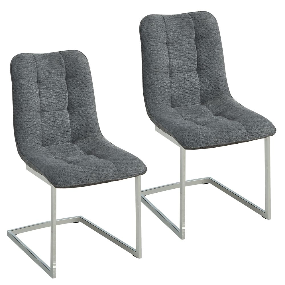 Metal Chrome Parson Armless Dining Chair with Grey Polyester/Polyester Blend Seat - Set of 2