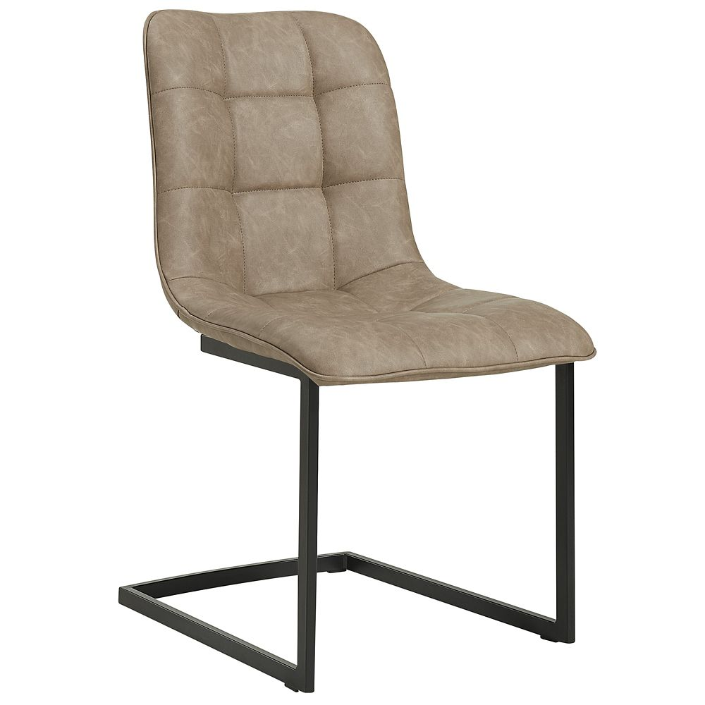 !nspire Harper Metal Black Parson Armless Dining Chair with Beige Faux Leather Seat - Set of 2