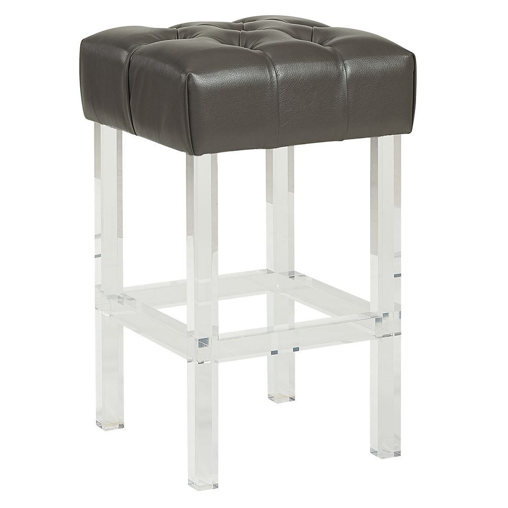 !nspire Noor Plastic/Acrylic Clear Contemporary Backless Armless Bar Stool with Grey Genuine Leather Seat