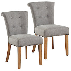 !nspire Selma Solid Wood Walnut Parson Armless Dining Chair with Grey Polyester Seat - (Set of 2)