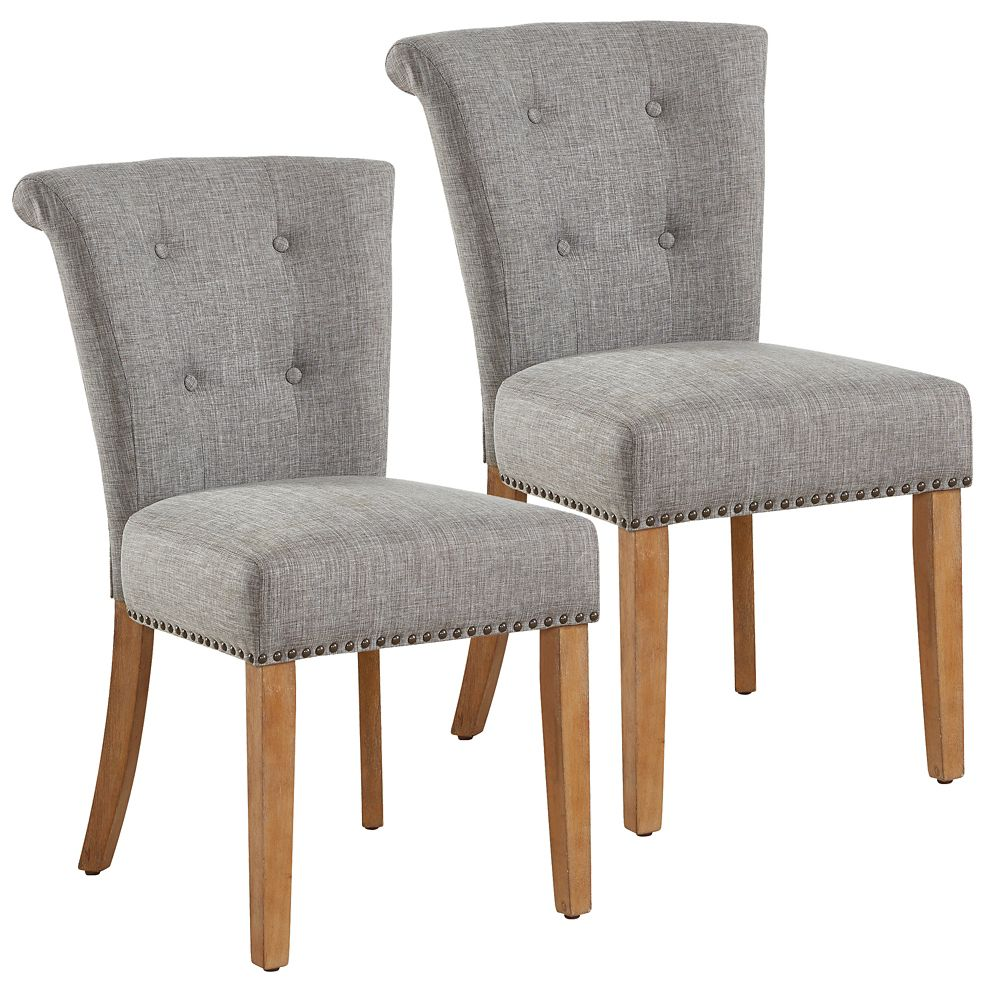 !nspire Selma Solid Wood Walnut Parson Armless Dining Chair with Grey Polyester Seat - Set of 2