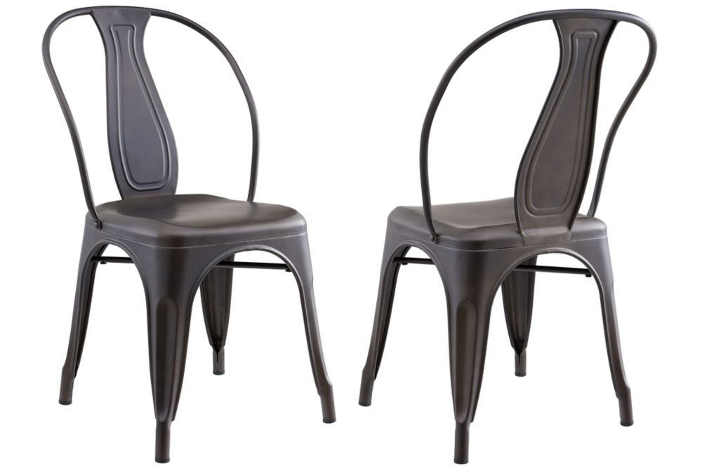 !nspire Tivo Metal Grey Parson Armless Dining Chair with Grey Metal Seat - Set of 4