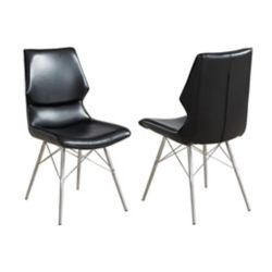 !nspire Vaux Metal Chrome Parson Armless Dining Chair with Black Faux Leather Seat - (Set of 2)