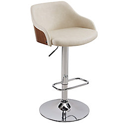 !nspire Castilo Metal Chrome Contemporary Full Back Armless Bar Stool with Beige Faux Leather Seat