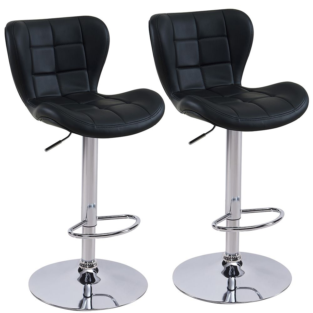 Metal Chrome Contemporary Full Back Armless Bar Stool with Black Faux Leather Seat - Set of 2
