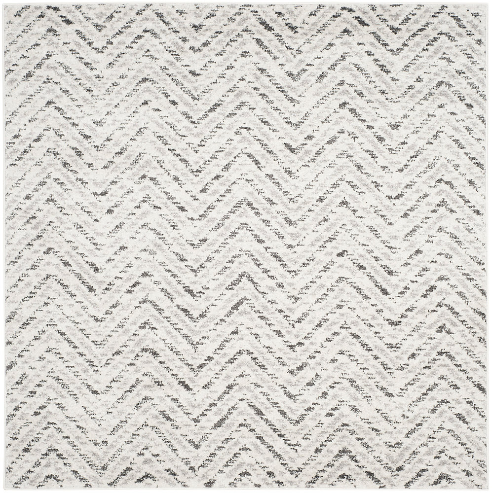 Adirondack Kevin Ivory / Charcoal 4 ft. x 4 ft. Indoor Square Area Rug