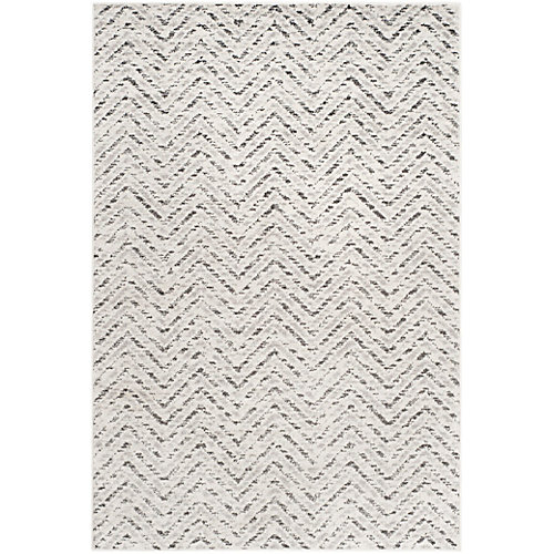 Adirondack Kevin Ivory / Charcoal 5 ft. 1 inch x 7 ft. 6 inch Indoor Area Rug
