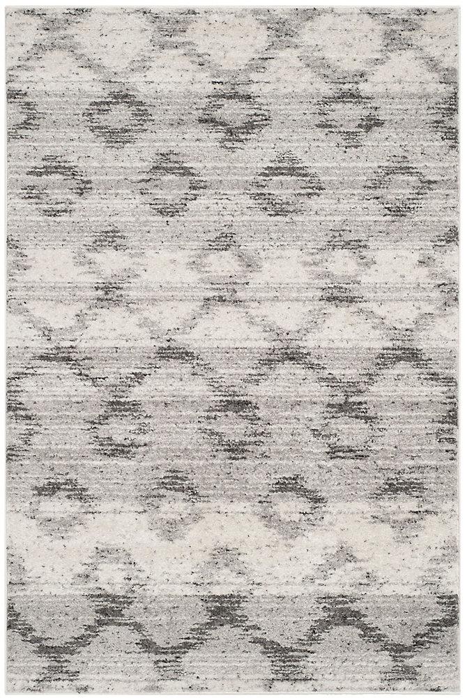 Carpette d'intérieur, 4 pi x 6 pi, style contemporain, rectangulaire, argent Adirondack