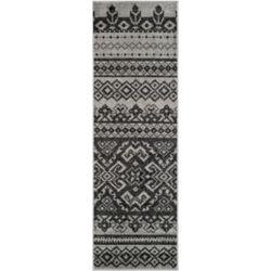 Safavieh Tapis de passage d'intérieur, 2 pi 6 po x 18 pi, style traditionnel, argent Adirondack