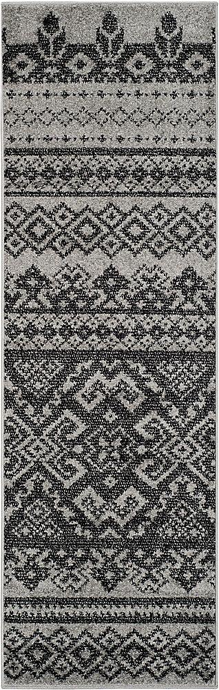 Tapis de passage d'intérieur, 2 pi 6 po x 20 pi, style traditionnel, noir Adirondack