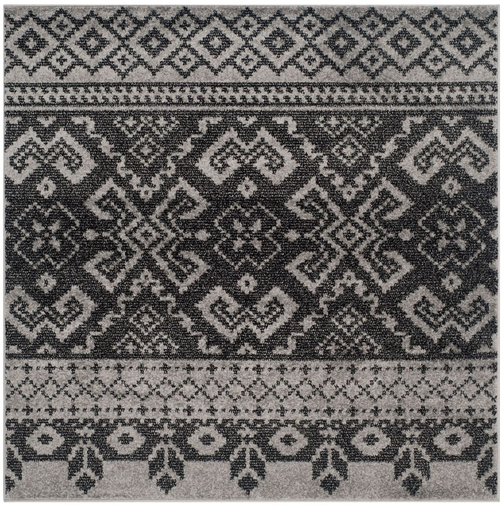 Safavieh Adirondack Karina Silver / Black 4 ft. x 4 ft. Indoor Square Area Rug