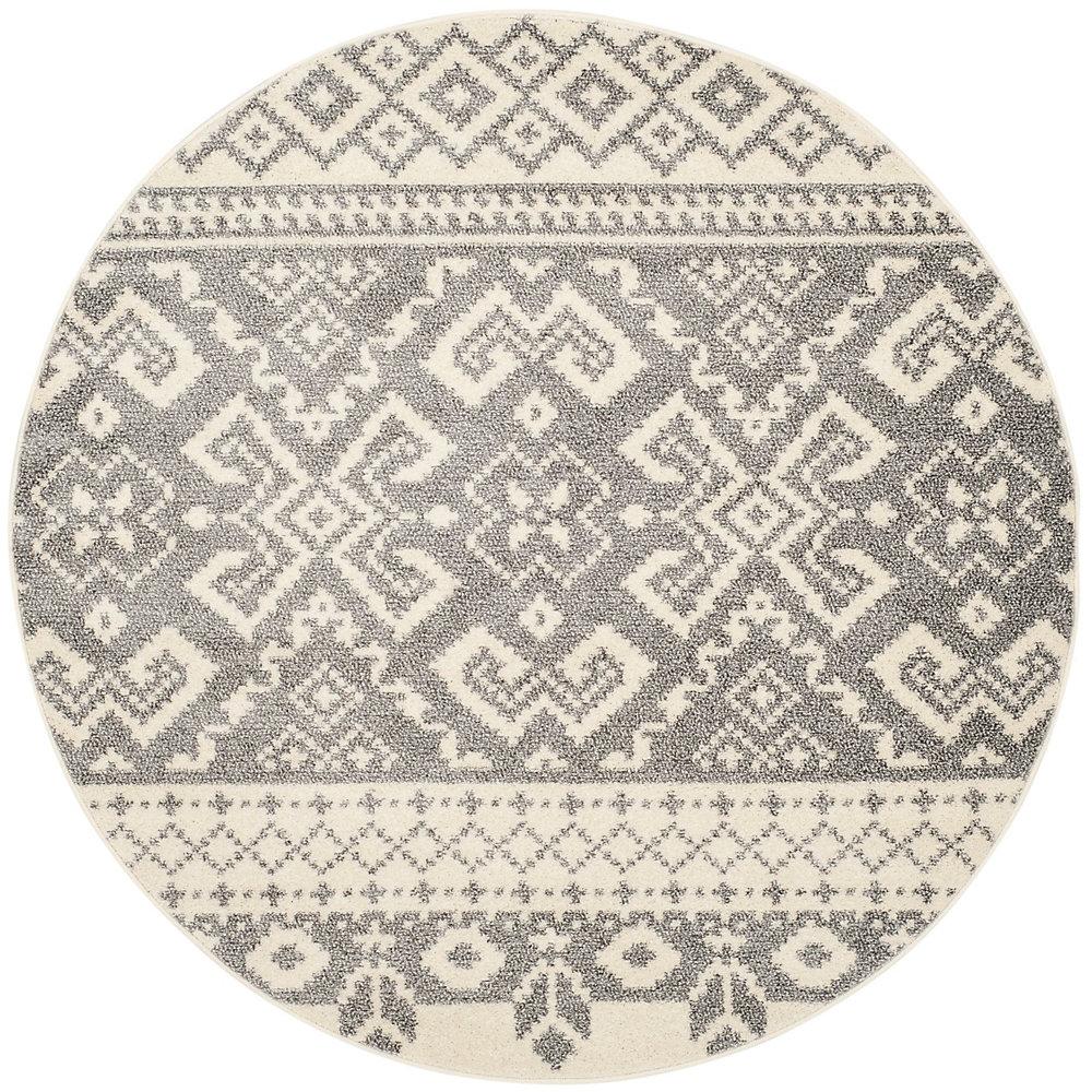 Carpette d'intérieur, 4 pi x 4 pi, style traditionnel, ronde, havane Adirondack