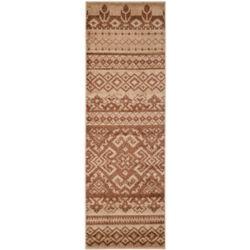 Safavieh Tapis de passage d'intérieur, 2 pi 6 po x 14 pi, style traditionnel, brun Adirondack