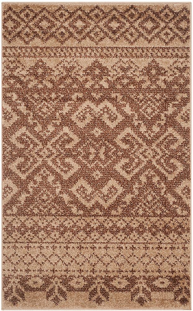 Carpette d'intérieur, 2 pi 6 po x 4 pi, style traditionnel, rectangulaire, brun Adirondack
