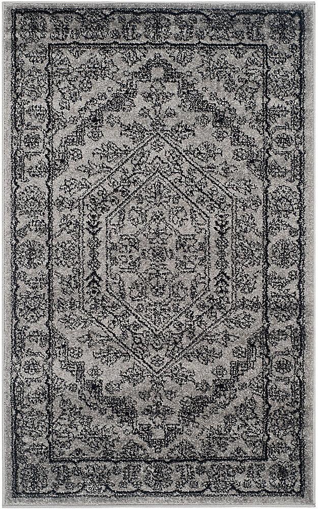 Carpette d'intérieur, 3 pi x 5 pi, style traditionnel, rectangulaire, argent Adirondack