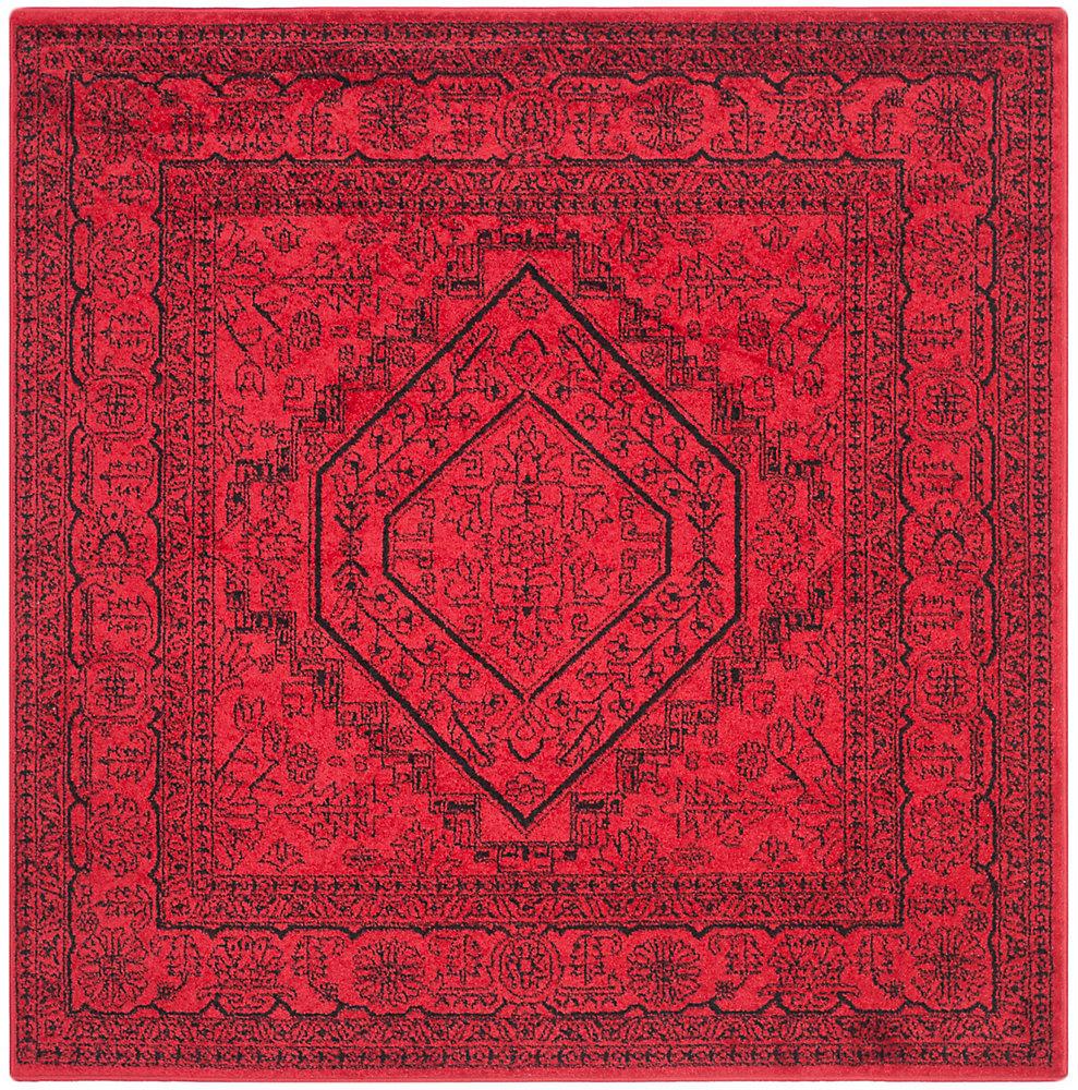 Carpette d'intérieur, 4 pi x 4 pi, style traditionnel, carrée, rouge Adirondack