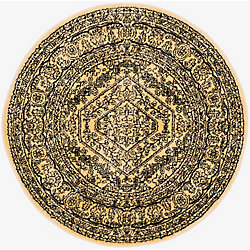 Safavieh Adirondack Winston Gold / Black 4 ft. x 4 ft. Indoor Round Area Rug