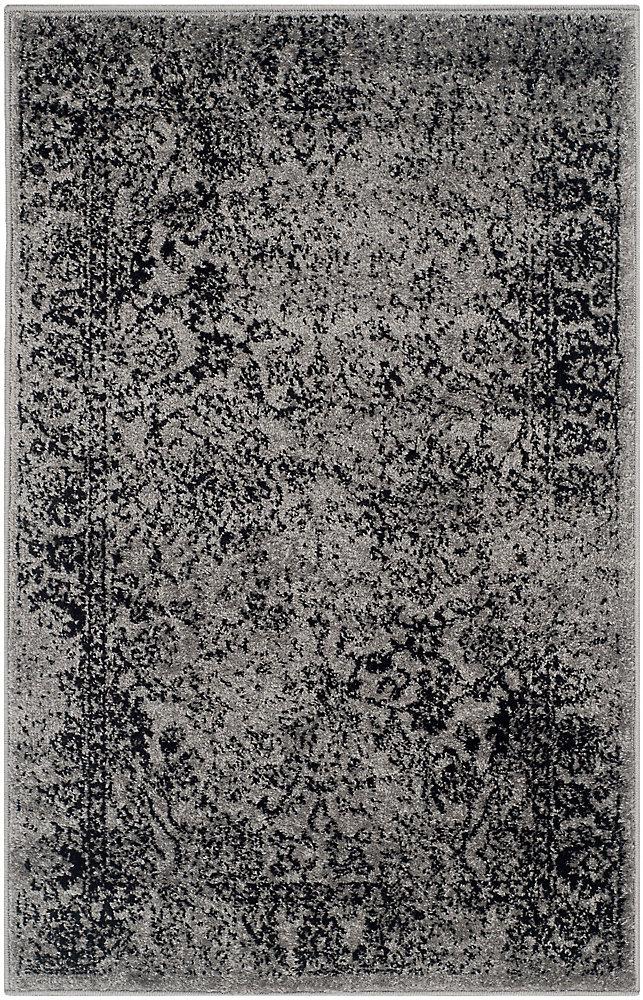 Carpette d'intérieur, 2 pi 6 po x 4 pi, style traditionnel, rectangulaire, gris Adirondack