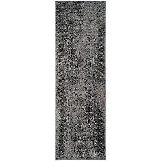 Adirondack Mackenzie Grey / Black 2 ft. 6 inch x 6 ft. Indoor Runner