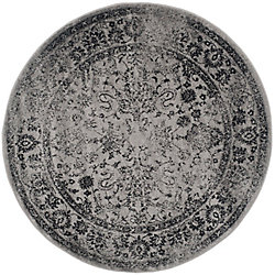 Safavieh Adirondack Mackenzie Grey / Black 4 ft. x 4 ft. Indoor Round Area Rug