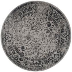 Safavieh Carpette d'intérieur, 4 pi x 4 pi, style traditionnel, ronde, gris Adirondack