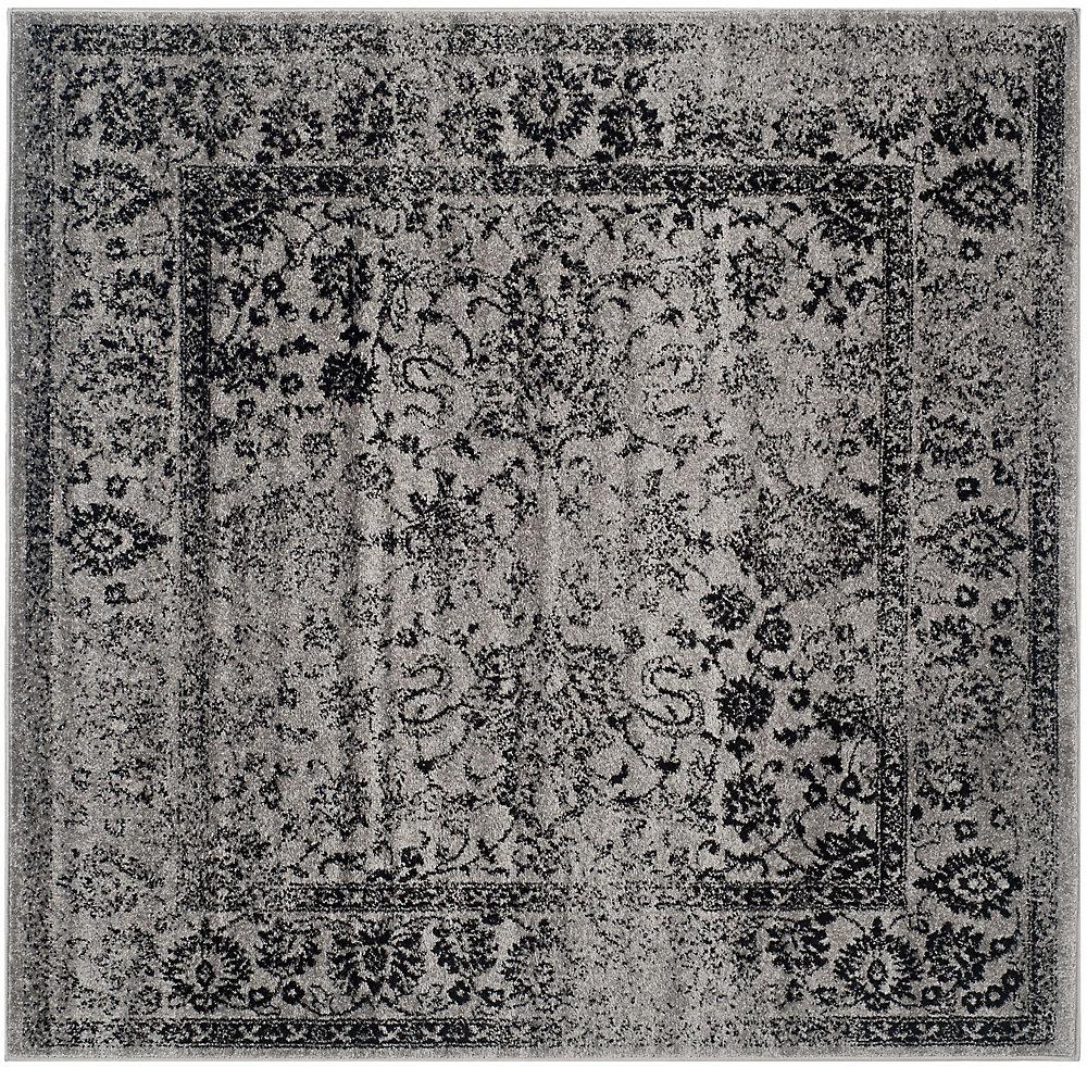 Carpette d'intérieur, 8 pi x 8 pi, style traditionnel, carrée, gris Adirondack