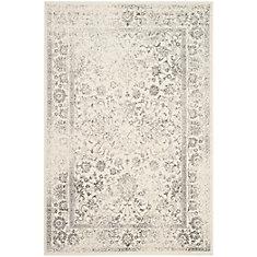 Carpette d'intérieur, 5 pi 1 po x 7 pi 6 po, style traditionnel, rectangulaire, argent Adirondack