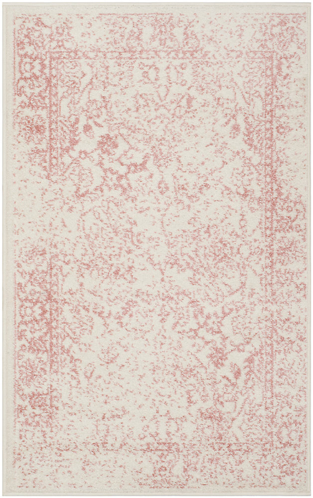 Carpette d'intérieur, 2 pi 6 po x 4 pi, style traditionnel, rectangulaire, rose Adirondack