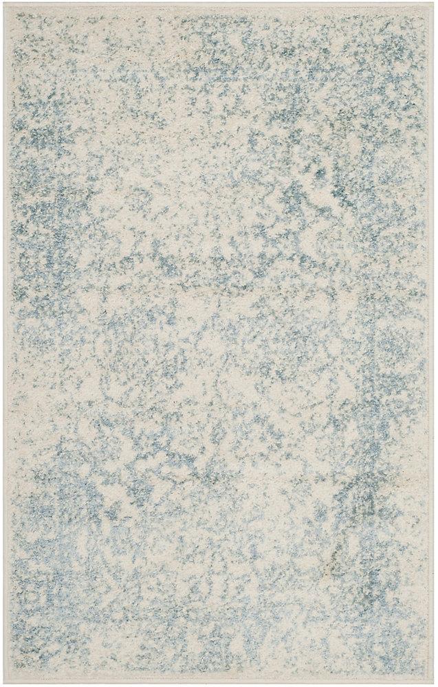 Carpette d'intérieur, 2 pi 6 po x 4 pi, style traditionnel, rectangulaire, blanc cassé Adirondack