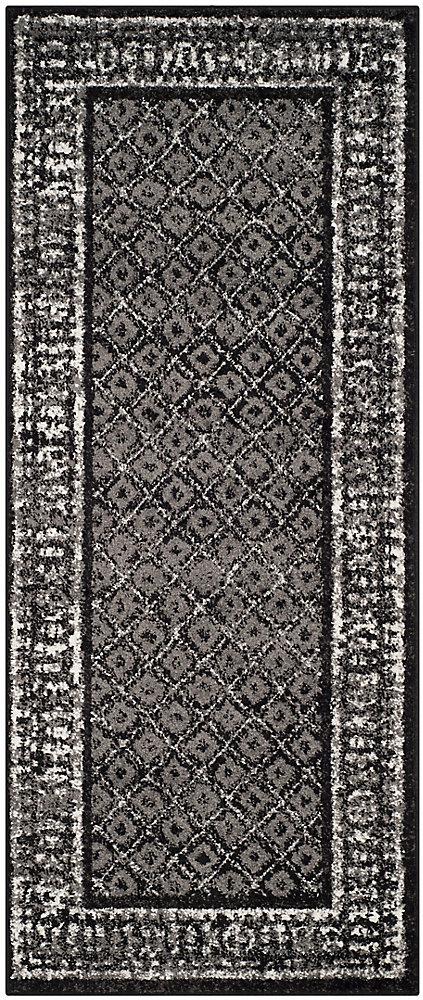 Tapis de passage d'intérieur, 2 pi 6 po x 18 pi, style traditionnel, noir Adirondack