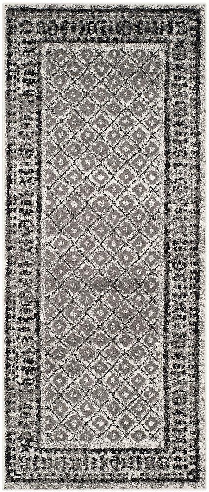 Carpette d'intérieur, 2 pi 6 po x 10 pi, style traditionnel, argent Adirondack