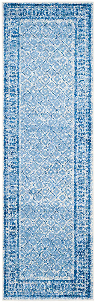 Adirondack Luther Silver / Blue 2 ft. 6 inch x 12 ft. Indoor Runner