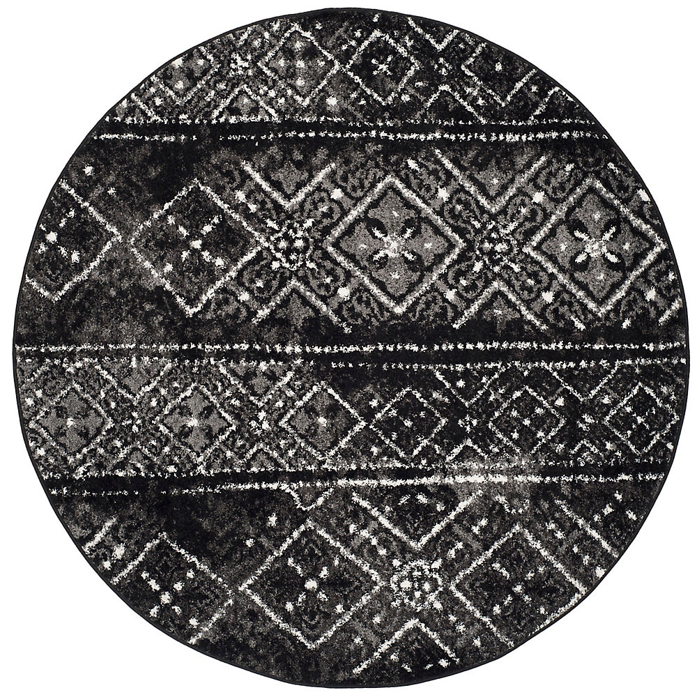 Adirondack Carlie Black / Silver 4 ft. x 4 ft. Indoor Round Area Rug