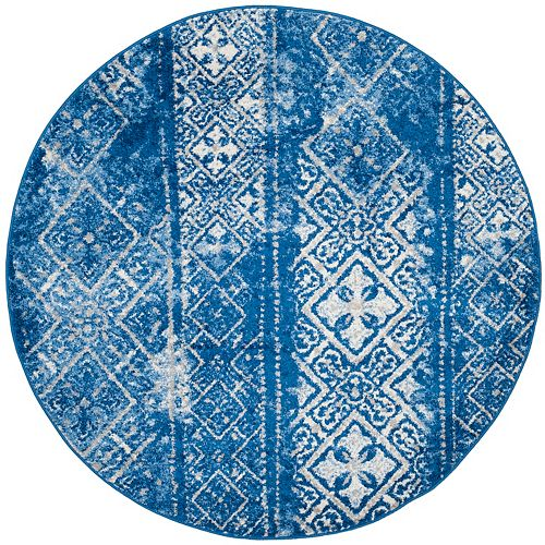 Safavieh Adirondack Carlie Silver / Blue 4 ft. x 4 ft. Indoor Round Area Rug