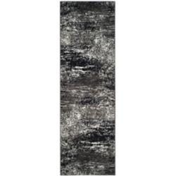 Safavieh Tapis de passage d'intérieur, 2 pi 6 po x 16 pi, style contemporain, argent Adirondack