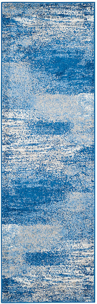 Tapis de passage d'intérieur, 2 pi 6 po x 20 pi, style contemporain, bleu Adirondack