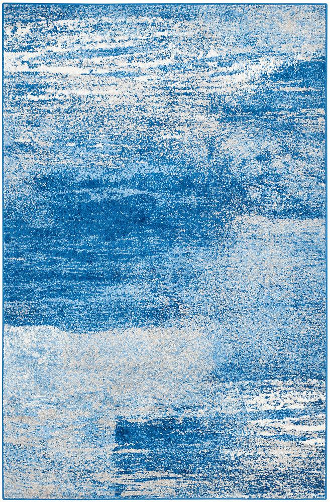 Carpette d'intérieur, 4 pi x 6 pi, style contemporain, rectangulaire, bleu Adirondack