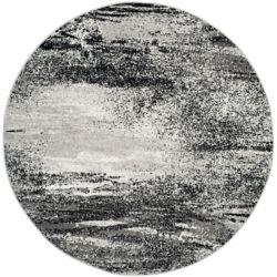 Safavieh Carpette d'intérieur, 8 pi x 8 pi, style contemporain, ronde, argent Adirondack