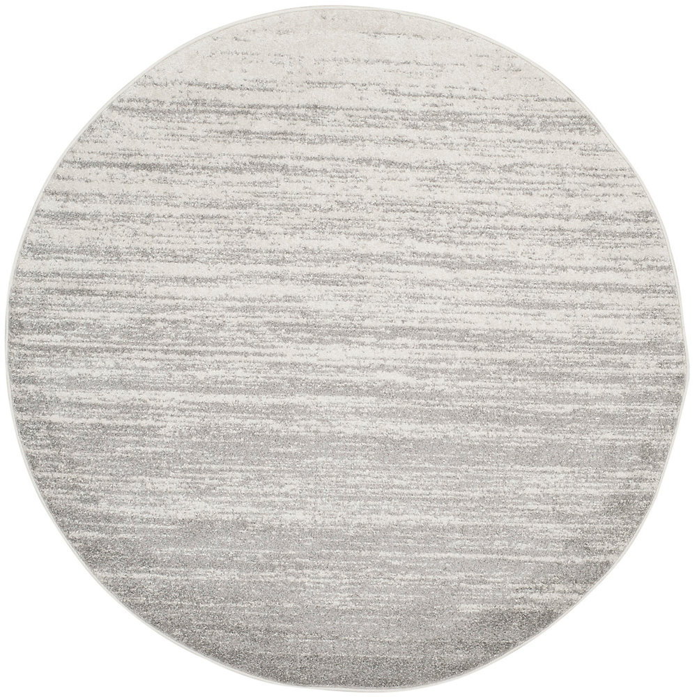Adirondack Brian Ivory / Silver 4 ft. x 4 ft. Indoor Round Area Rug