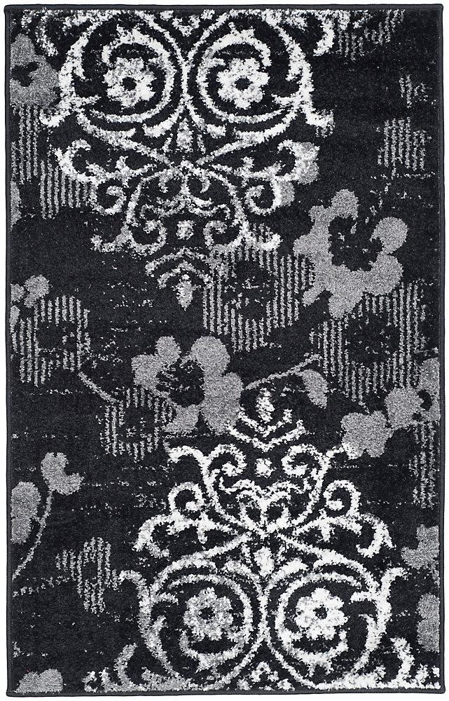 Carpette d'intérieur, 2 pi 6 po x 4 pi, style contemporain, rectangulaire, noir Adirondack