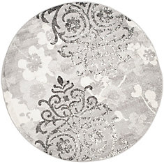Adirondack Roslyn Silver / Ivory 4 ft. x 4 ft. Indoor Round Area Rug