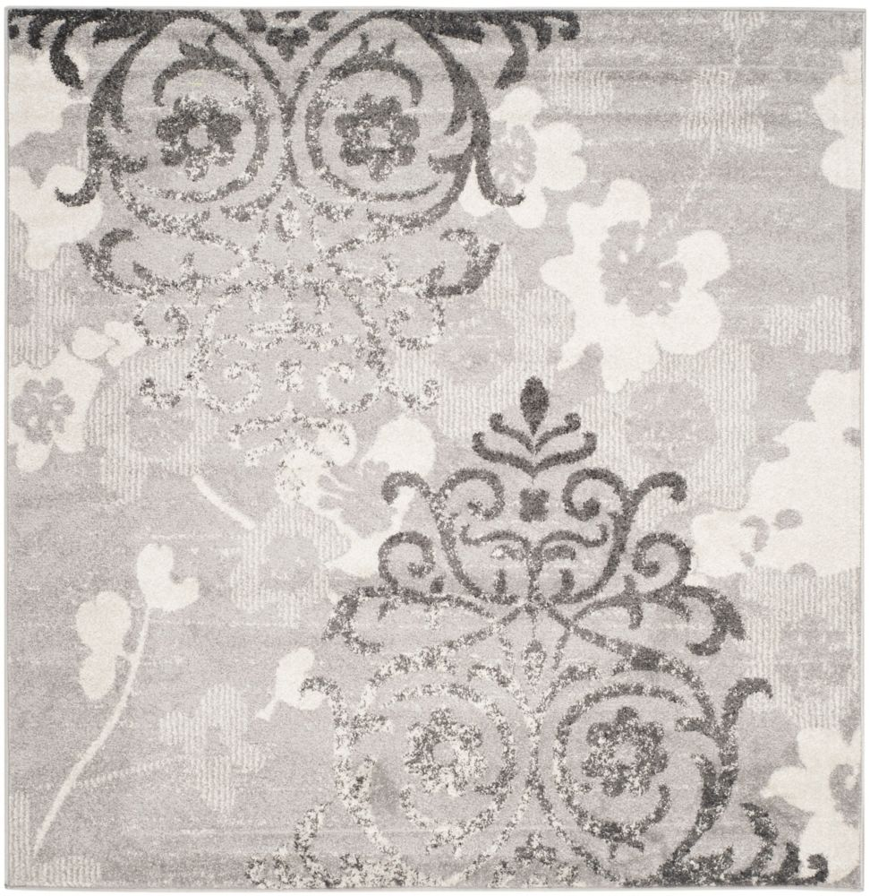 Safavieh Adirondack Roslyn Silver / Ivory 4 ft. x 4 ft. Indoor Square Area Rug