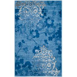 Safavieh Carpette d'intérieur, 2 pi 6 po x 4 pi, style contemporain, rectangulaire, bleu Adirondack